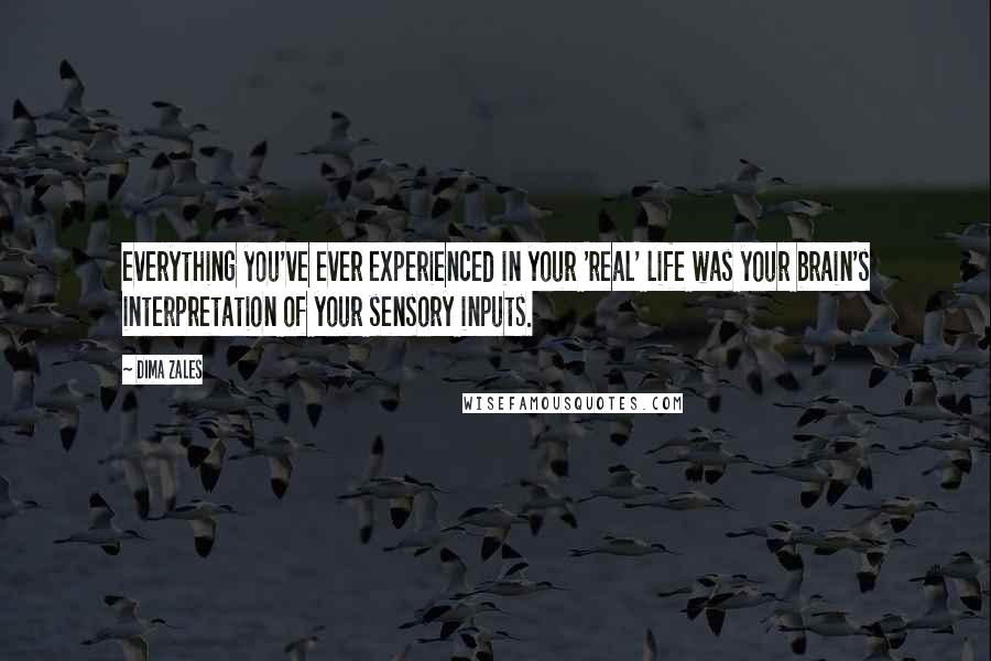 Dima Zales quotes: everything you've ever experienced in your 'real' life was your brain's interpretation of your sensory inputs.