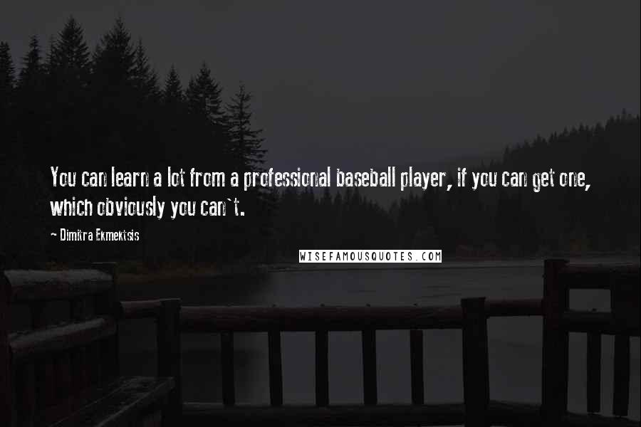 Dimitra Ekmektsis quotes: You can learn a lot from a professional baseball player, if you can get one, which obviously you can't.