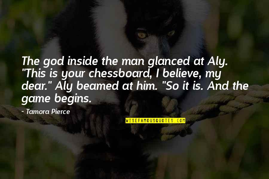 Dimples And Smiles Quotes By Tamora Pierce: The god inside the man glanced at Aly.