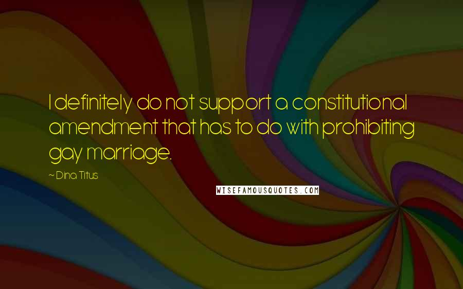 Dina Titus quotes: I definitely do not support a constitutional amendment that has to do with prohibiting gay marriage.