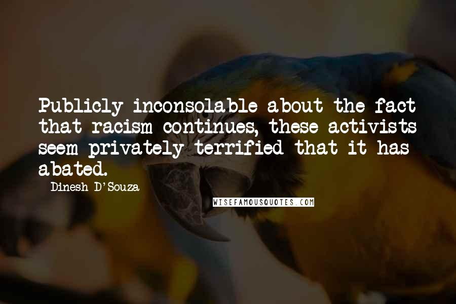 Dinesh D'Souza quotes: Publicly inconsolable about the fact that racism continues, these activists seem privately terrified that it has abated.