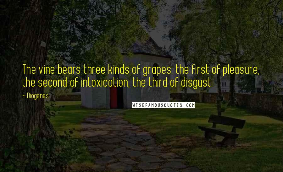 Diogenes quotes: The vine bears three kinds of grapes: the first of pleasure, the second of intoxication, the third of disgust.