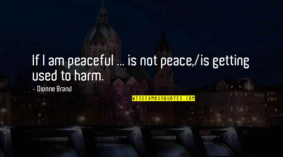 Dionne Brand Quotes By Dionne Brand: If I am peaceful ... is not peace,/is