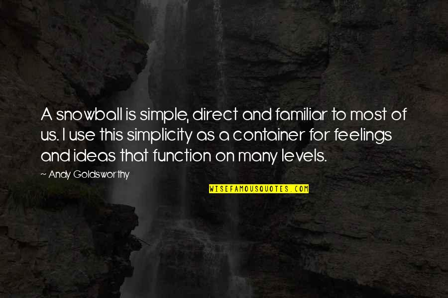 Direct Quotes By Andy Goldsworthy: A snowball is simple, direct and familiar to