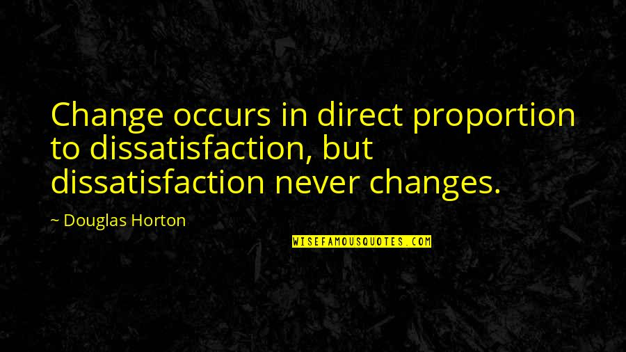 Direct Quotes By Douglas Horton: Change occurs in direct proportion to dissatisfaction, but