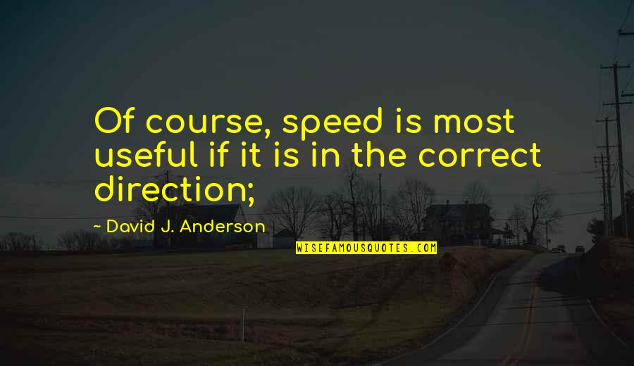 Direction And Speed Quotes By David J. Anderson: Of course, speed is most useful if it