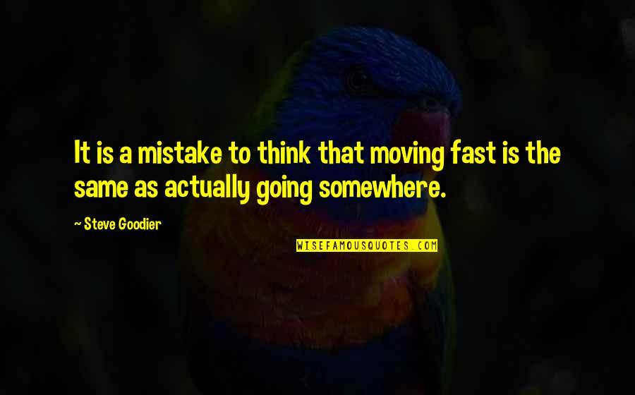 Direction And Speed Quotes By Steve Goodier: It is a mistake to think that moving