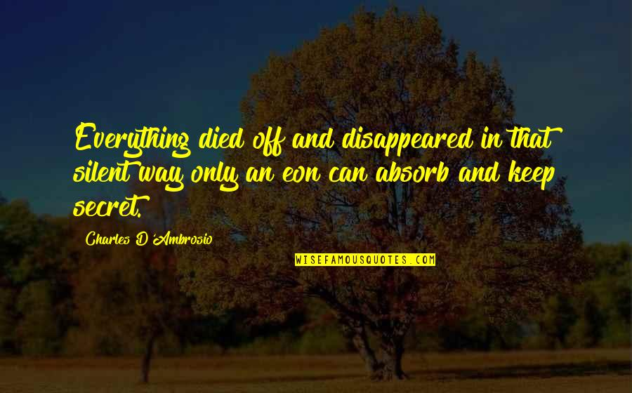 Disappeared Quotes By Charles D'Ambrosio: Everything died off and disappeared in that silent