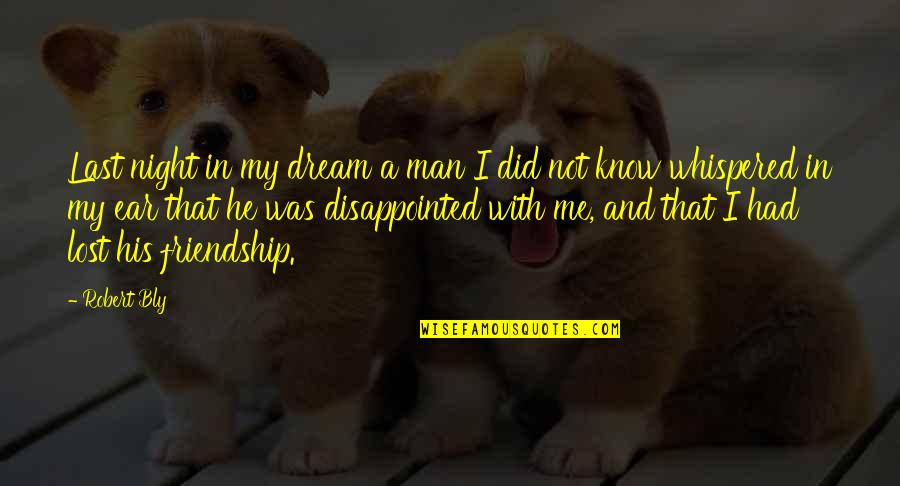 Disappointed Friendship Quotes By Robert Bly: Last night in my dream a man I