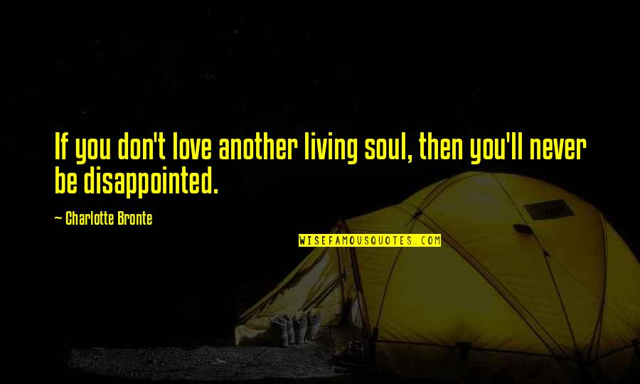 Disappointed In Love Quotes By Charlotte Bronte: If you don't love another living soul, then