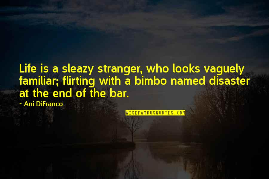 Disaster Quotes By Ani DiFranco: Life is a sleazy stranger, who looks vaguely