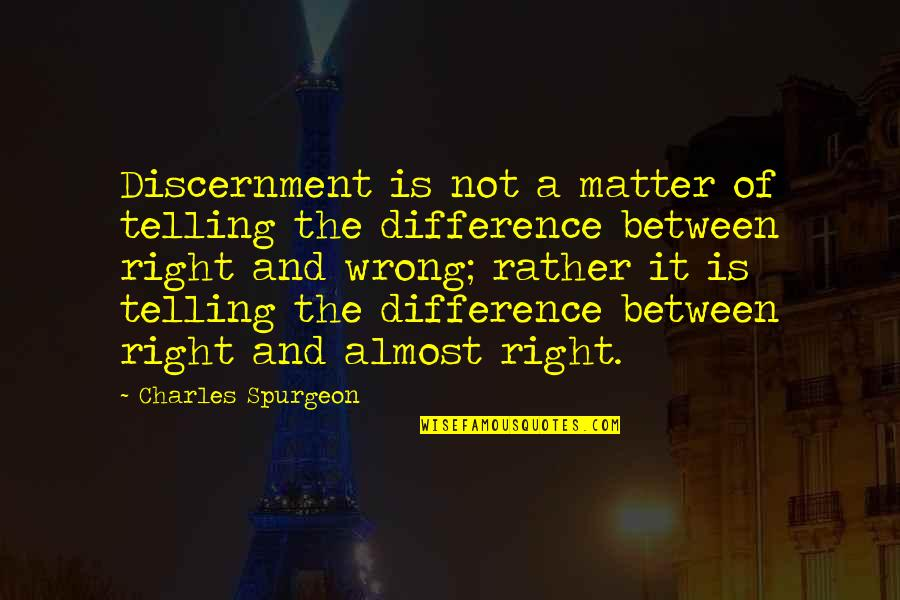 Discernment Christian Quotes By Charles Spurgeon: Discernment is not a matter of telling the