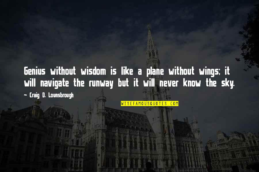 Discernment Quotes By Craig D. Lounsbrough: Genius without wisdom is like a plane without