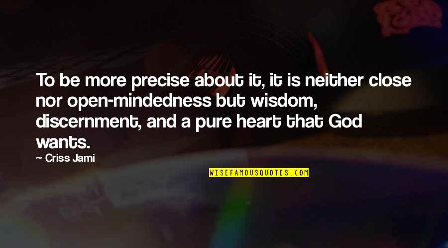 Discernment Quotes By Criss Jami: To be more precise about it, it is