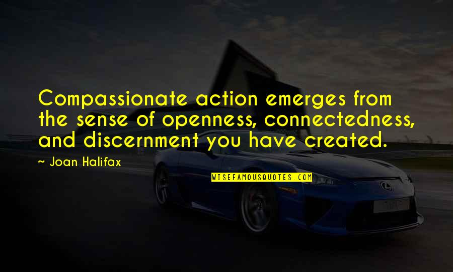 Discernment Quotes By Joan Halifax: Compassionate action emerges from the sense of openness,