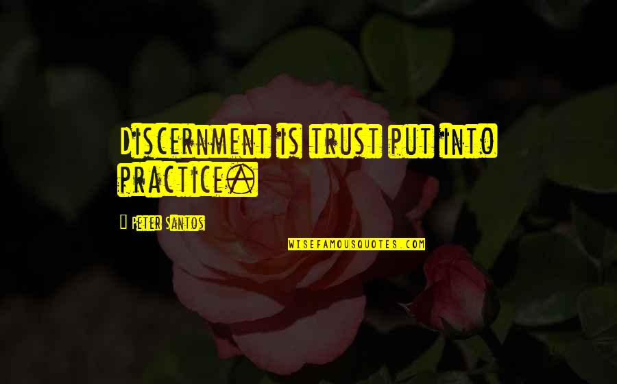 Discernment Quotes By Peter Santos: Discernment is trust put into practice.