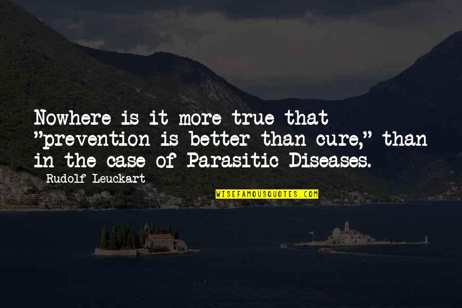"""Diseases Prevention Quotes By Rudolf Leuckart: Nowhere is it more true that """"prevention is"""