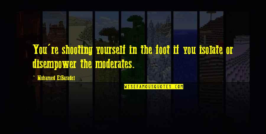 Disempower Quotes By Mohamed ElBaradei: You're shooting yourself in the foot if you