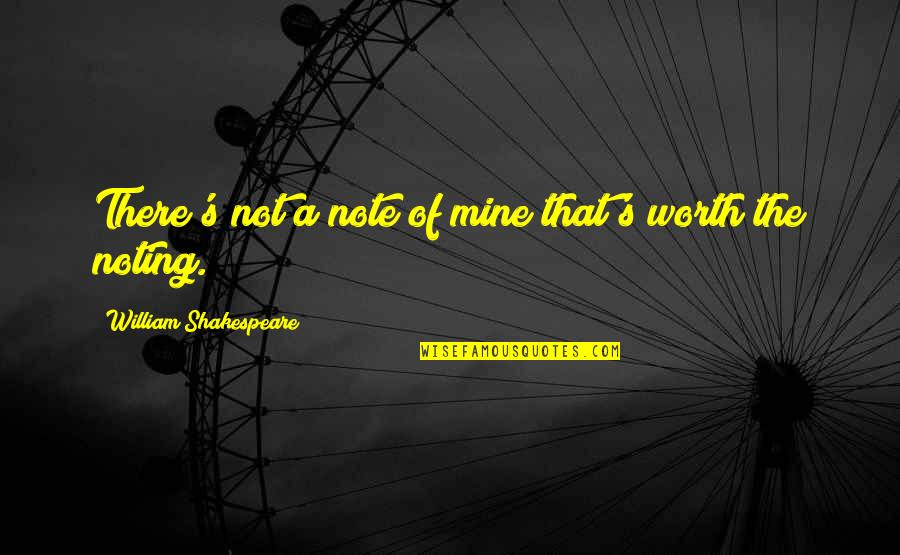 Disfruta Quotes By William Shakespeare: There's not a note of mine that's worth