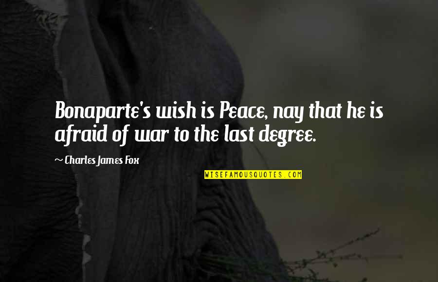 Diskworld Quotes By Charles James Fox: Bonaparte's wish is Peace, nay that he is