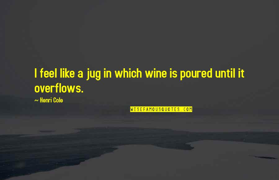 Diskworld Quotes By Henri Cole: I feel like a jug in which wine
