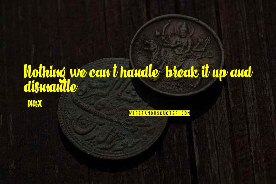 Dismantle Quotes By DMX: Nothing we can't handle, break it up and