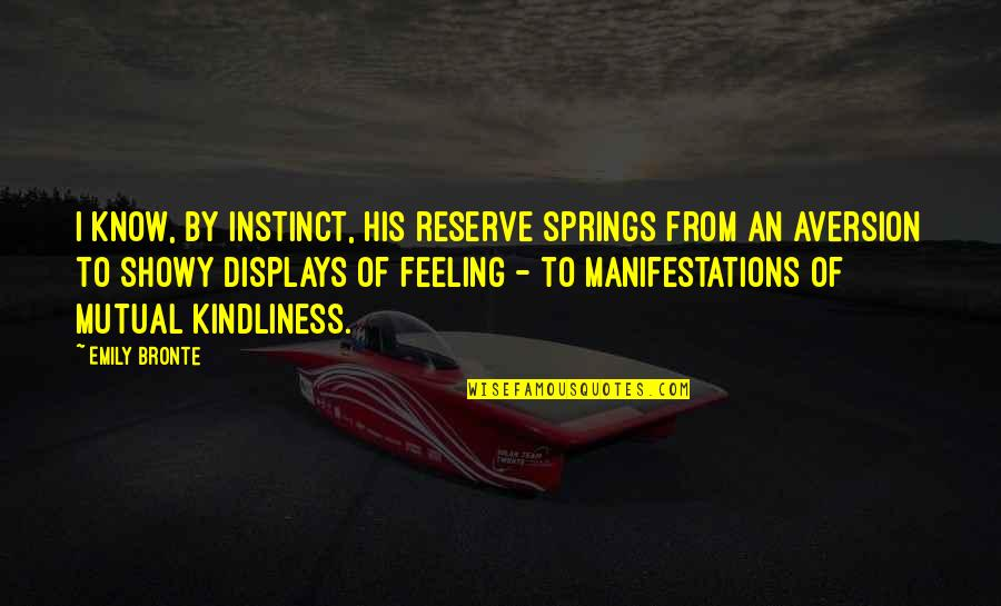 Displays Quotes By Emily Bronte: I know, by instinct, his reserve springs from