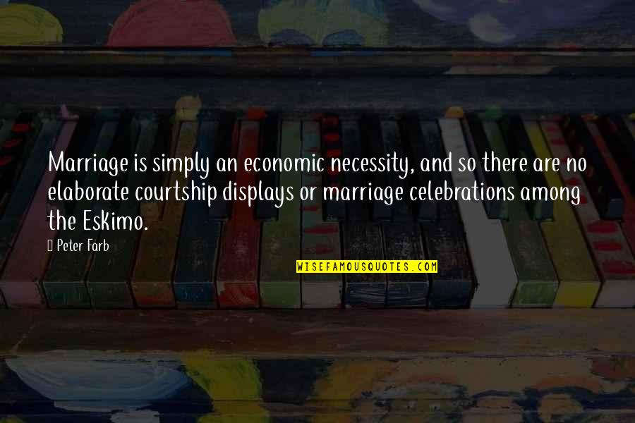 Displays Quotes By Peter Farb: Marriage is simply an economic necessity, and so