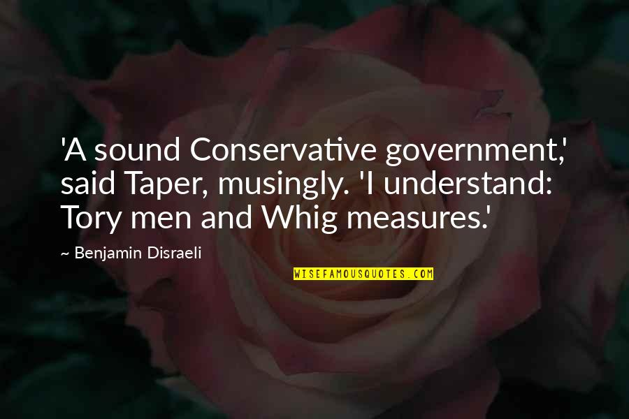 Disraeli Quotes By Benjamin Disraeli: 'A sound Conservative government,' said Taper, musingly. 'I