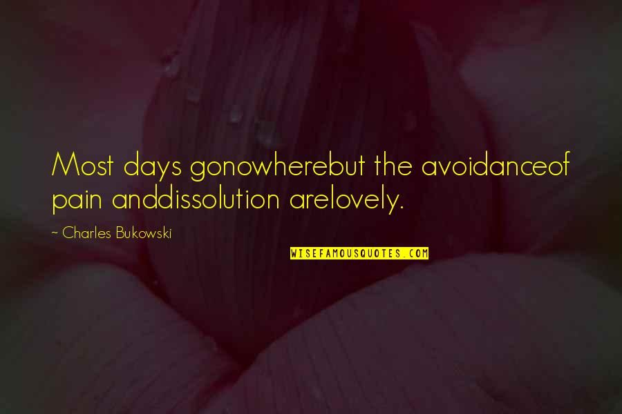 Dissolution Quotes By Charles Bukowski: Most days gonowherebut the avoidanceof pain anddissolution arelovely.