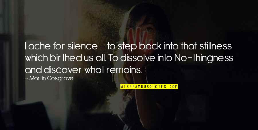 Dissolve Quotes By Martin Cosgrove: I ache for silence - to step back