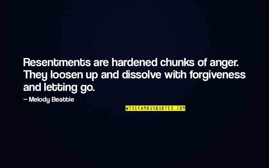 Dissolve Quotes By Melody Beattie: Resentments are hardened chunks of anger. They loosen