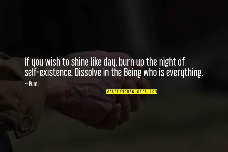 Dissolve Quotes By Rumi: If you wish to shine like day, burn