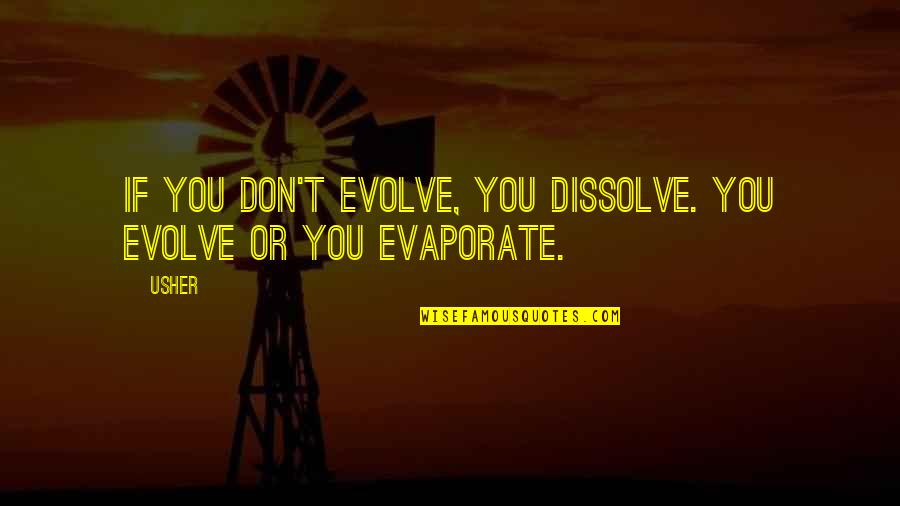 Dissolve Quotes By Usher: If you don't EVOLVE, you dissolve. You evolve