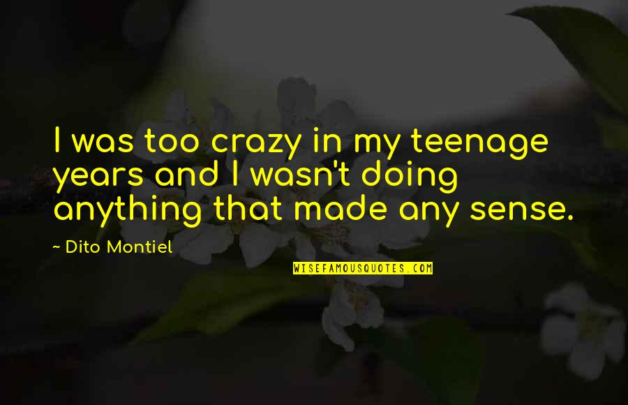 Dito Montiel Quotes By Dito Montiel: I was too crazy in my teenage years