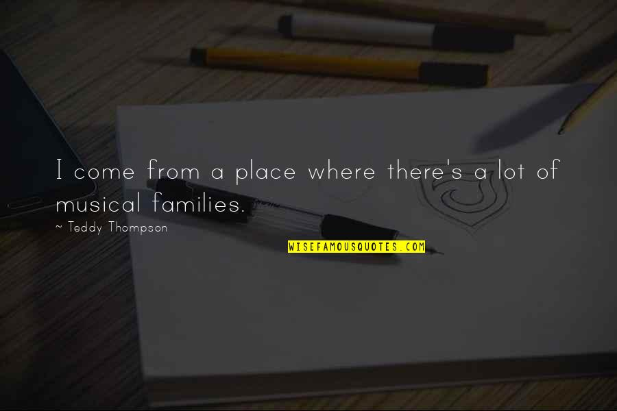 Diuretics Quotes By Teddy Thompson: I come from a place where there's a