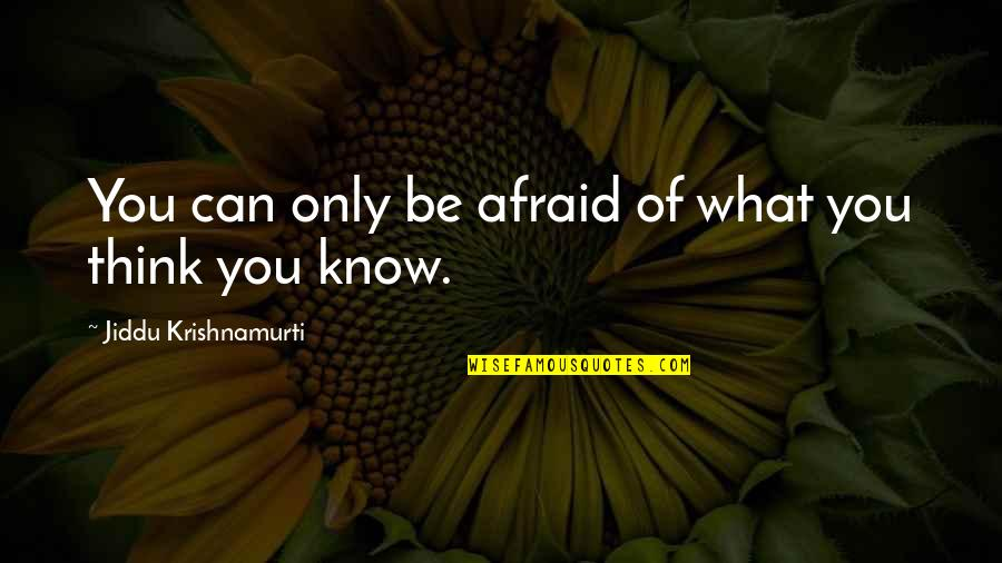 Dive Head First Quotes By Jiddu Krishnamurti: You can only be afraid of what you