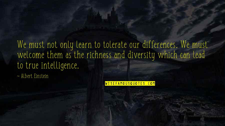 Diversity In The Us Quotes By Albert Einstein: We must not only learn to tolerate our