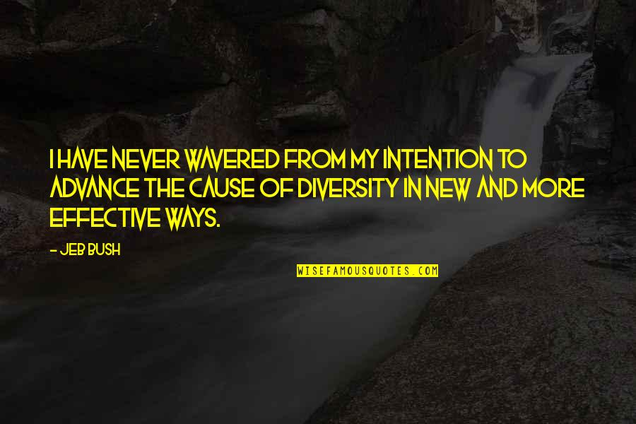 Diversity In The Us Quotes By Jeb Bush: I have never wavered from my intention to