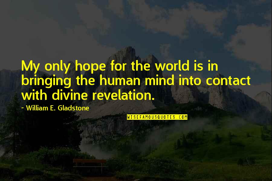 Divine Revelation Quotes By William E. Gladstone: My only hope for the world is in