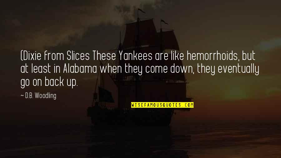 Dixie Quotes By D.B. Woodling: (Dixie from Slices These Yankees are like hemorrhoids,