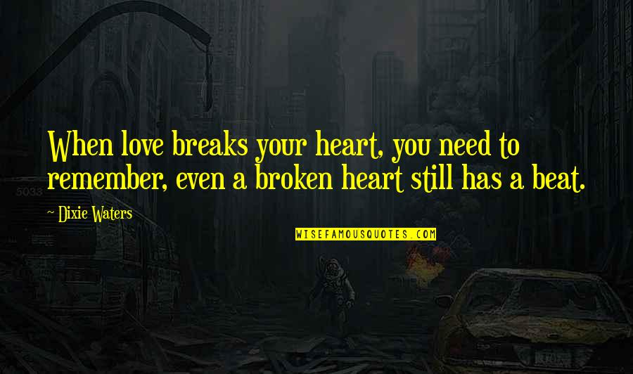 Dixie Quotes By Dixie Waters: When love breaks your heart, you need to