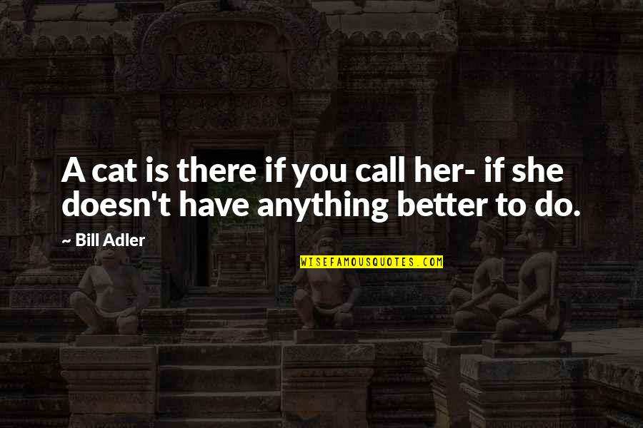 Do Anything For Her Quotes By Bill Adler: A cat is there if you call her-