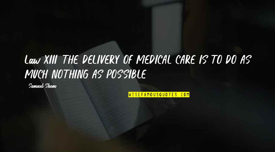Do I Care Too Much Quotes By Samuel Shem: Law XIII. THE DELIVERY OF MEDICAL CARE IS