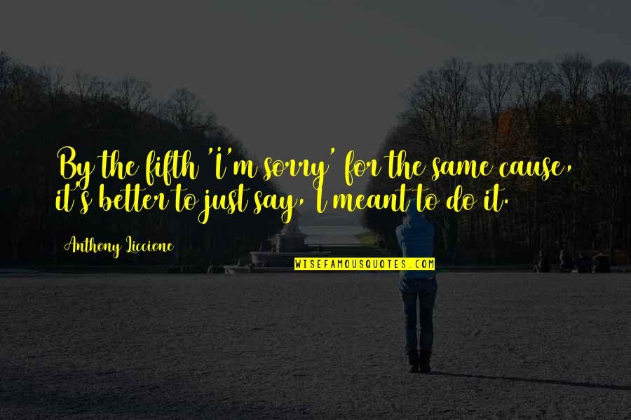 Do It Better Quotes By Anthony Liccione: By the fifth 'I'm sorry' for the same