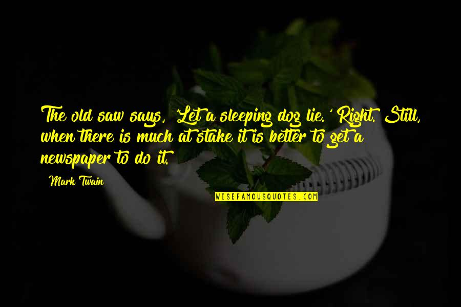 Do It Better Quotes By Mark Twain: The old saw says, 'Let a sleeping dog