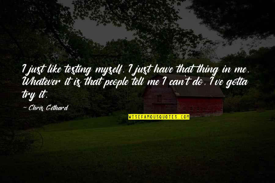 Do It Myself Quotes By Chris Gethard: I just like testing myself. I just have
