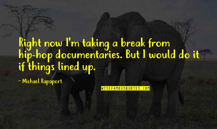 Do It Right Quotes By Michael Rapaport: Right now I'm taking a break from hip-hop