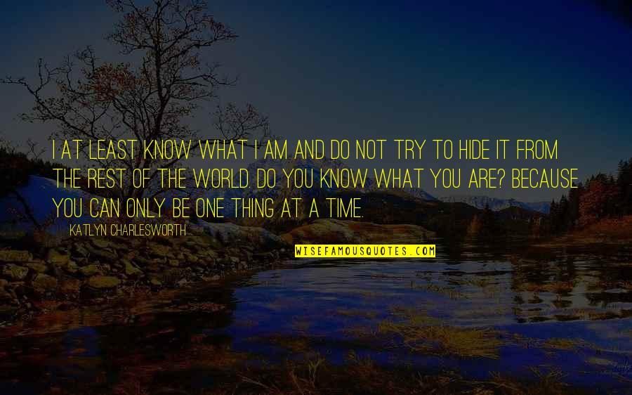 Do One Thing At A Time Quotes By Katlyn Charlesworth: I at least know what I am and