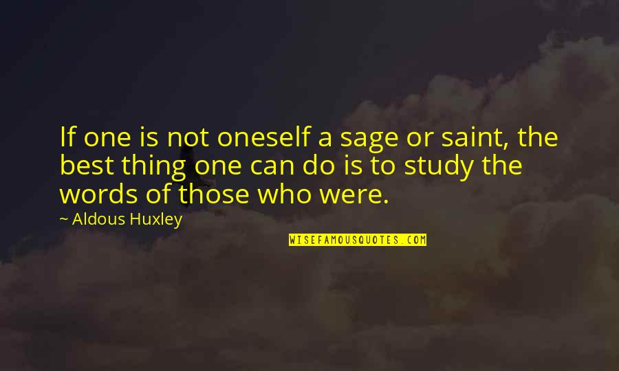 Do The Best Thing Quotes By Aldous Huxley: If one is not oneself a sage or